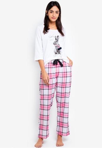 Dorothy Perkins pink Pink Eyelash Rabbit Pyjamas Set A8AD7AA88077BEGS_1