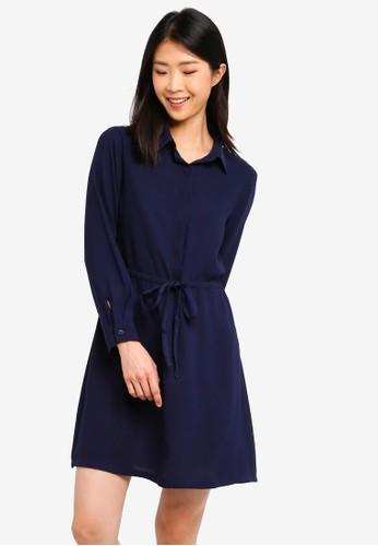 ZALORA BASICS navy Basic Long Sleeves Drawstring Dress 36D23AA0D8C840GS_1
