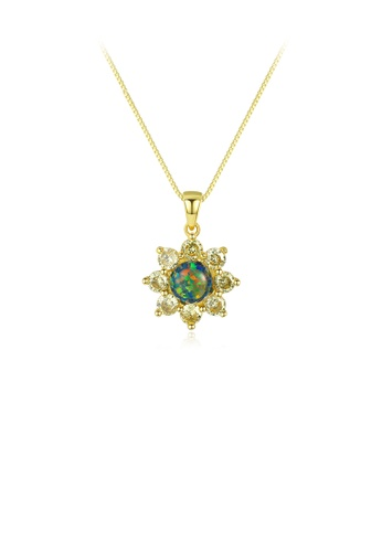 Glamorousky white 925 Sterling Silver Plated Gold Fashion Elegant Flower Green Imitation Opal Pendant with Cubic Zirconia and Necklace ABEEAAC98C6566GS_1