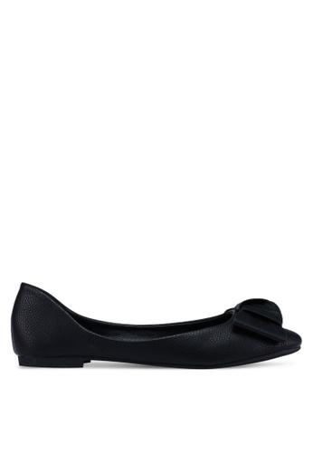 Bata black Round Toe Bow Flats 0C024SH4199F87GS_1