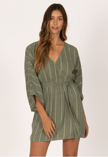 SISSTREVOLUTION green WRAP ME UP WVN DRESS-DTG 42EFAAA4198D69GS_1