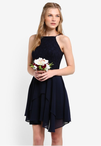 ZALORA navy Bridesmaid Lace Bodice Fit & Flare Dress B0451AA2AEEB82GS_1