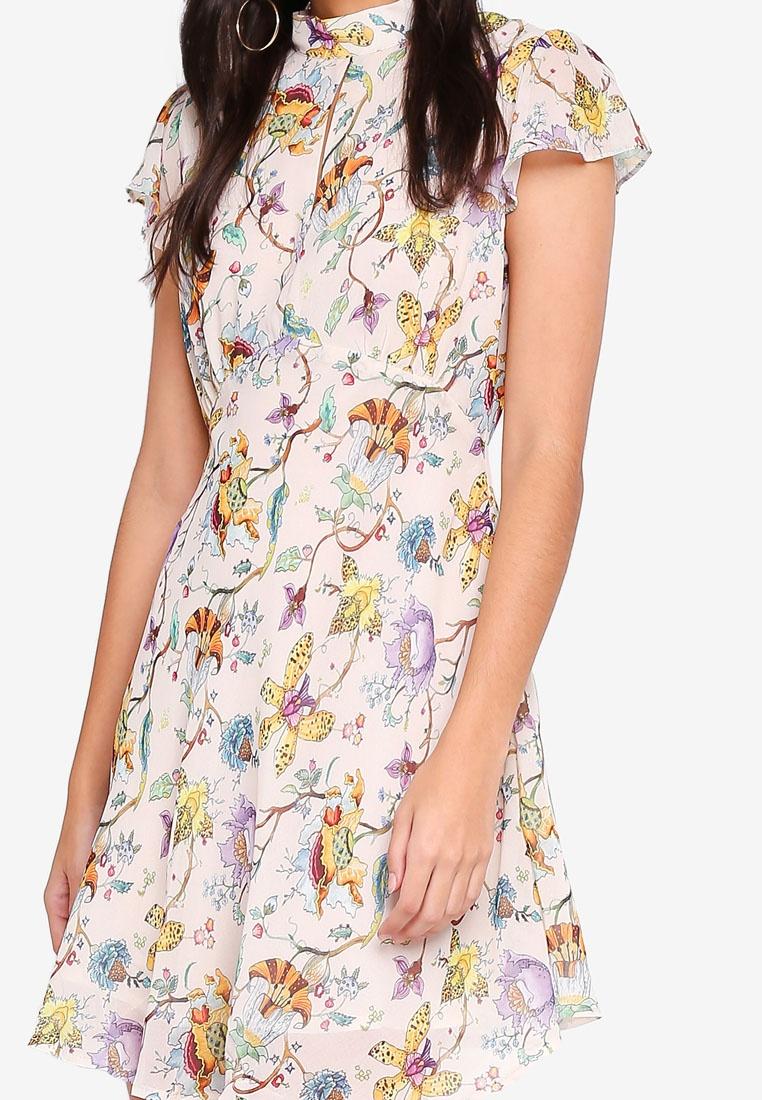 Floral Glamorous Floral Multi Dress Skater Nude XPPBpT