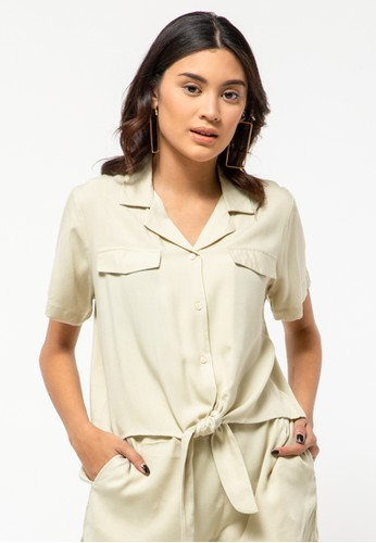 COLORBOX brown Short Sleeve Shirt With Front Tie 3B7BCAA1658828GS_1