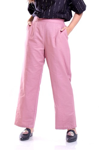 Hardware pink HARDWARE WIDE LEG RELAX PANTS 72902AA520D5E6GS_1