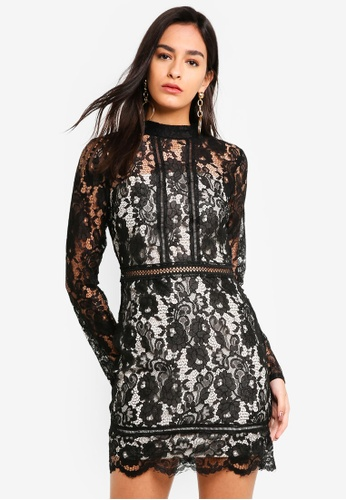1825a57858f Shop MISSGUIDED Long Sleeve High Neck Lace Dress Online on ZALORA ...