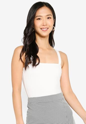ZALORA BASICS 白色 Rib Square Neck Bodysuit 3F463AA8CFC603GS_1