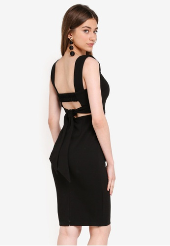 INDIKAH black Back Tie Pencil Dress 87BA2AA62F1E76GS_1