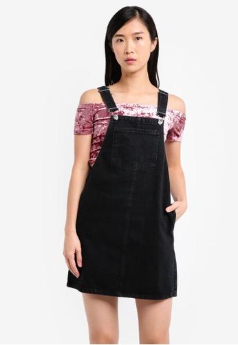 Miss Selfridge black Denim Pinny Dress MI665AA0SS6GMY_1