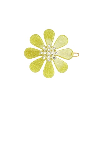 Glamorousky white Fashion Simple Light Green Flower Hair Clip with Cubic Zirconia 6EB06ACCA55016GS_1
