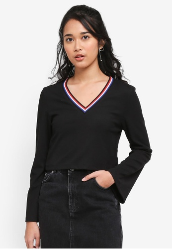 Something Borrowed black Flare Sleeve Rib Crop Top with Striped Rib 17F6AAA7CC26F2GS_1