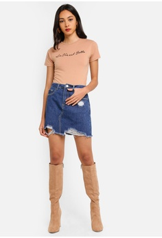 1af92f4585 37% OFF MISSGUIDED Ripped Denim Mini Skirt RM 109.00 NOW RM 68.90 Sizes 6 8  14