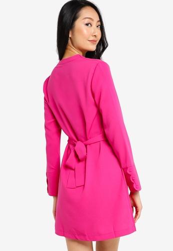 ZALORA BASICS 粉紅色 波紋Cuff 洋裝 722DDAA5123F6EGS_1