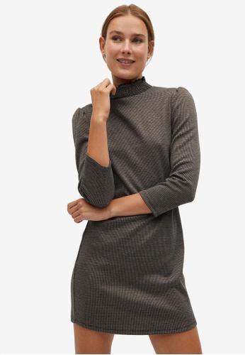 Mango brown Ruched Neck Dress A5609AAF86A6D1GS_1