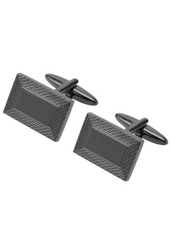 CUFF IT black Gunmetal Engraved Fish Scale Pattern Cufflinks CU047AC05GIOHK_1