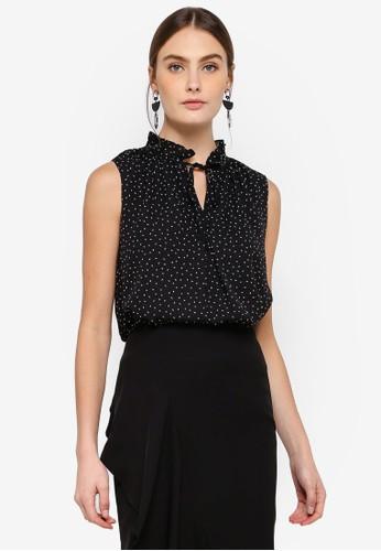 FORCAST black Laurel Tie Neck Top 14901AA9A809FDGS_1