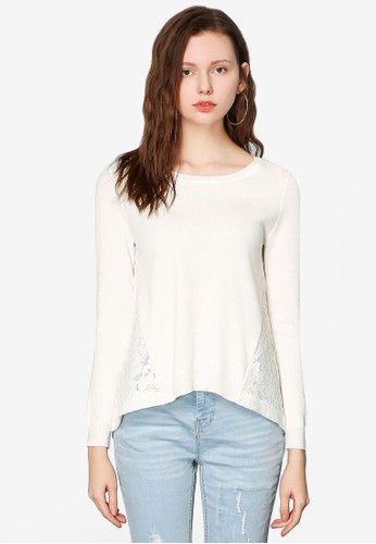 Hopeshow white Woolen Long Sleeve Top C11FFAAEFB4216GS_1