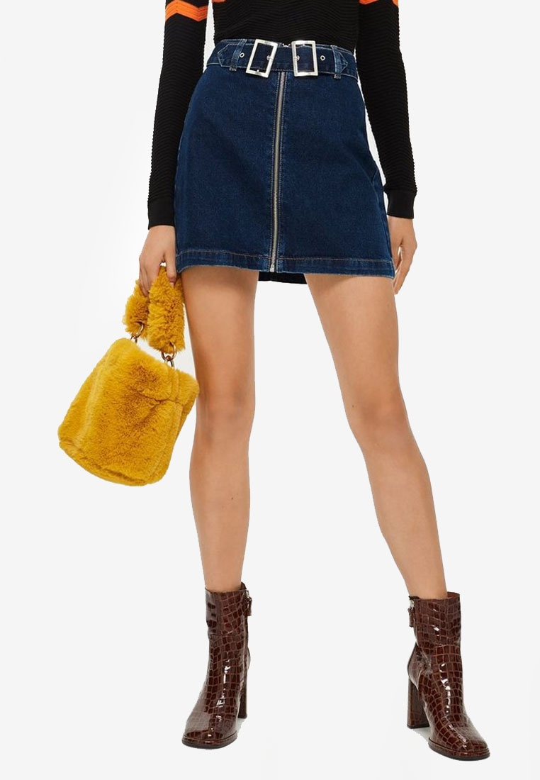 Indigo Buckle Double Denim TOPSHOP Skirt SwIfXgq