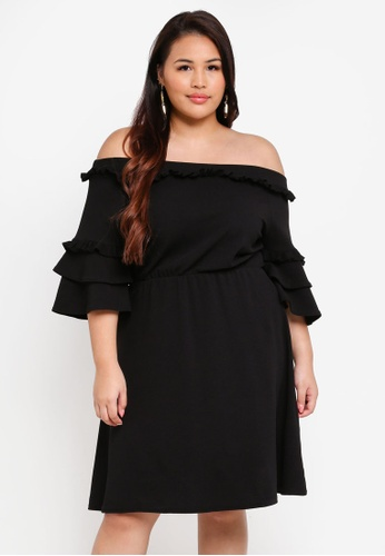 LOST INK PLUS black Plus Size Bardot Dress With Double Sleeves 42AA3AA9B0655BGS_1