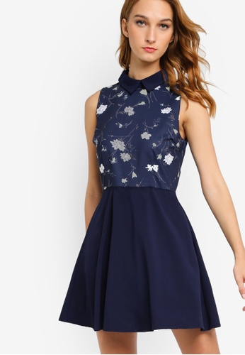 Something Borrowed navy Printed Fit And Flare Dress 95C3DAA361DCC5GS_1