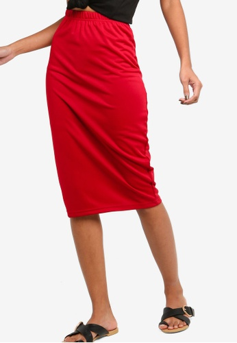 ZALORA BASICS red Basic High Waisted Jersey Skirt 98B90AAB498CC3GS_1