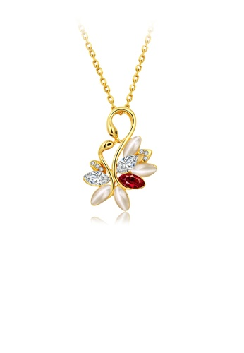 Glamorousky white Elegant and Fashion Plated Gold Swan Pendant with Cubic Zircon and Necklace 34BAEACDAFD841GS_1
