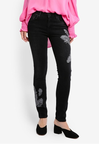 Mango black Embroidered Skinny Jeans MA193AA0T1D3MY_1