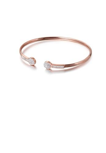 Glamorousky 白色 簡約個性鍍玫瑰金幾何圓形316L鋼手鐲配鋯石 F6572AC9318775GS_1