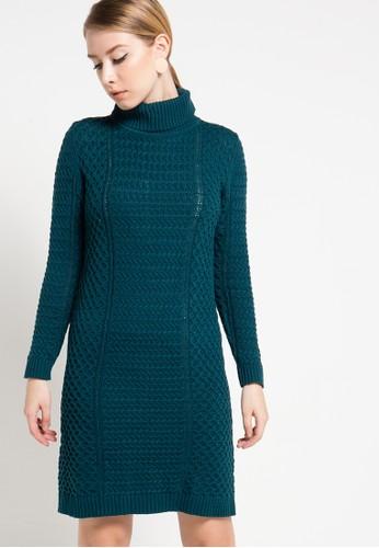 COME green Joana Cable Knit Dress CO779AA85HZIID_1