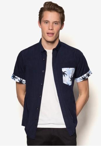 印花口袋短袖襯衫, 服飾, esprit tw襯衫