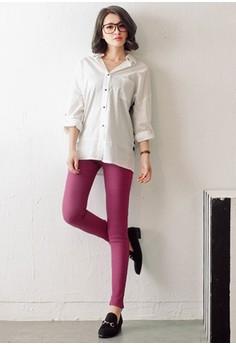 [OB] Slim Fit Elastic Waist Skinny Pants