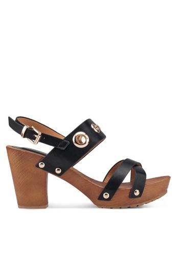 Noveni 黑色 Eyelet Wooden Heels 52AB7SH7E43676GS_1