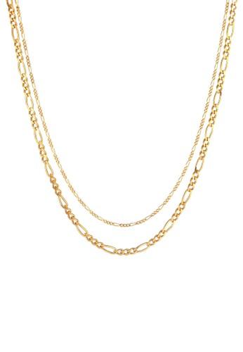 Elli Germany gold Perhiasan Wanita Perak Asli - Silver Kalung Layer Chain Figaro Gold Plated B07BEAC23237A5GS_1
