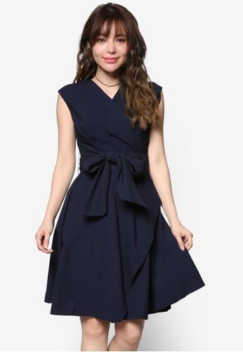 繫帶裹式及膝連身裙esprit 評價, 服飾, 洋裝