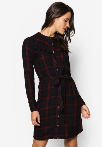 格紋腰帶襯衫長袖連身裙, 服飾,esprit門市地址 洋裝