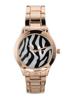 【ZALORA】 斑馬紋圓框鍊錶