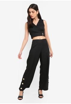 ab635b9604e01 10% OFF Miss Selfridge Petite Black Side Button Wrap Crop Top S  66.90 NOW  S  59.90 Sizes 4 6 8 10 14