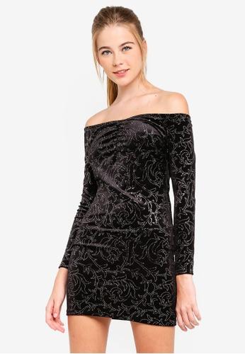 Miss Selfridge 黑色 Black Glitter Bardot Dress 9296AAA3152B7AGS_1