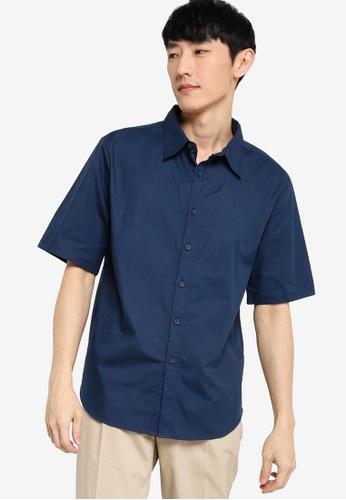 ZALORA BASICS navy Boxy Fit Short Sleeve Shirt 77DFAAA91B2C94GS_1