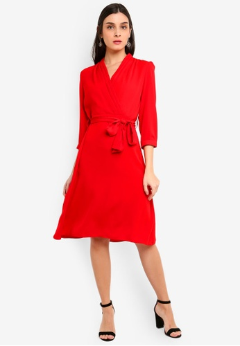 FORCAST red Vina Tie Waist Dress 68B76AA080875CGS_1