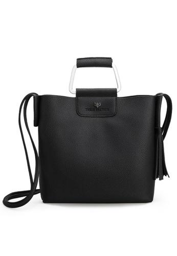 Vince black European Designed Luxury Top Handle Bag ( Black ) VI456AC48EIXMY_1