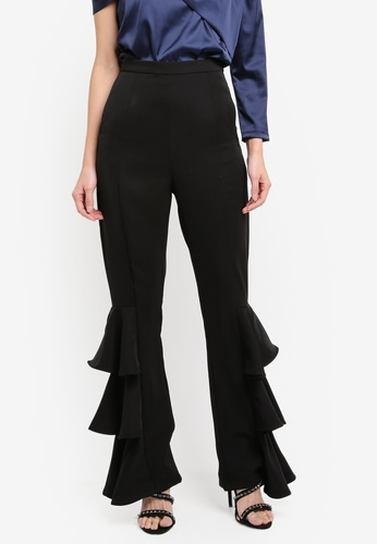 Lavish Alice black Frill Side Tailored Wide Leg Trousers LA457AA0T1OIMY_1
