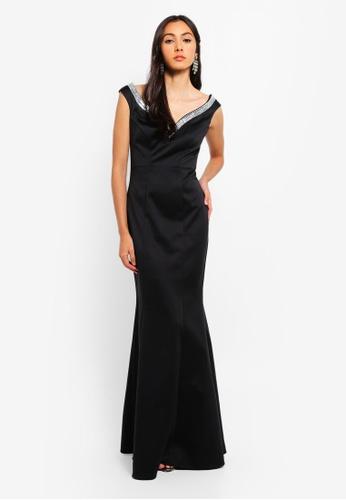Goddiva 黑色 鑽飾長洋裝 3D6F3AA60ABA70GS_1