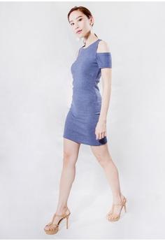 d81c8a831b Kiss   Tell blue Cold Shoulder Dress in Blue 3B613AA4A5B91BGS 1