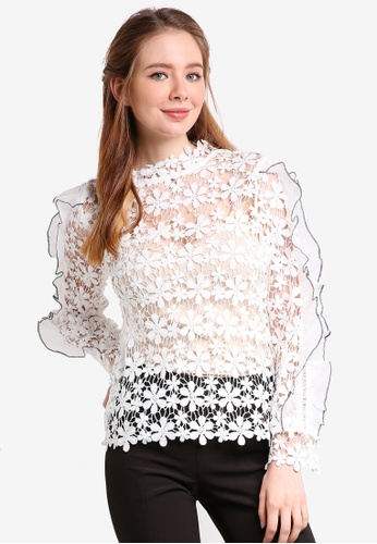bYSI white Ruffle Sleeve Lace Top BY867AA05SPQMY_1