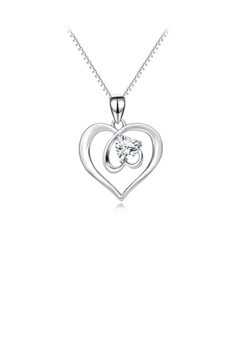 Glamorousky white 925 Sterling Silver Fashion Simple Double Heart Pendant with Cubic Zirconia and Necklace 4120BAC50B1CCEGS_1