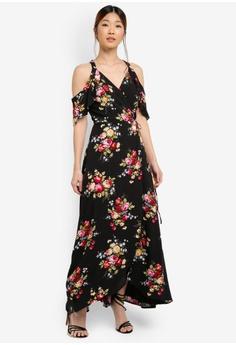 Something Borrowed black Cold Shoulder Slit Maxi Dress 6F0F8AA2A941BAGS_1