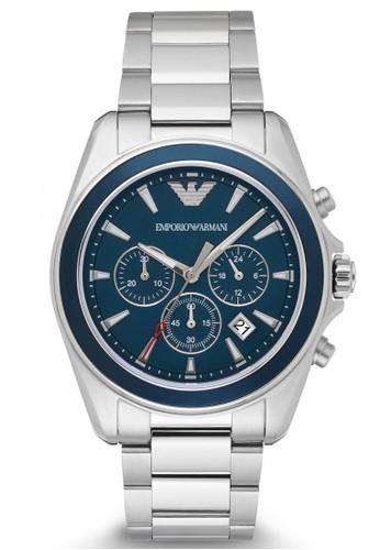 Emporio Armani silver Emporio Armani Sigma - Blue Dial 44 mm - Stainless  Steel - Chronograph 0fcc080552