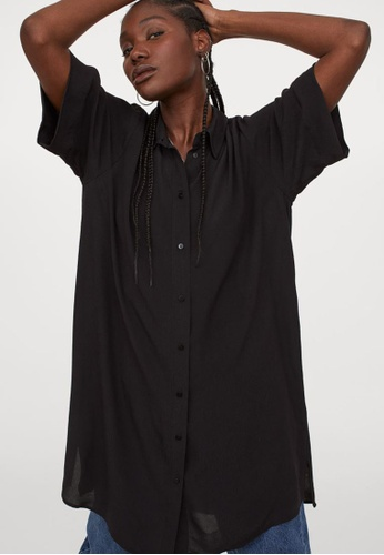 H&M black Shirt Dress F2C31AA6FFD6E2GS_1