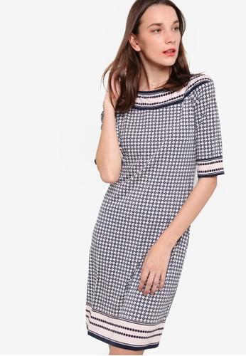 寬領印花連身裙, zalora 折扣碼服飾, 洋裝
